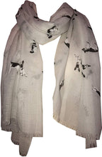 Load image into Gallery viewer, Pamper Yourself Now White German Shepherd Design Long Scarf/wrap with Frayed Edge
