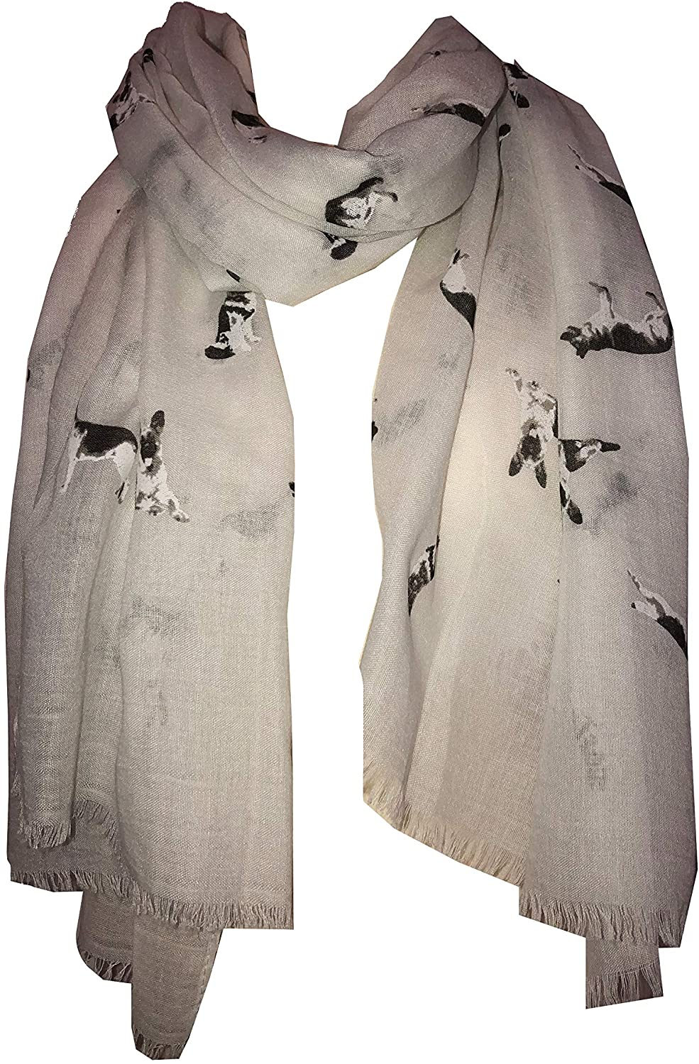 Pamper Yourself Now White German Shepherd Design Long Scarf/wrap with Frayed Edge