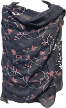 Load image into Gallery viewer, Blue with pink embroidered flowers and leaf design long Scarf/wrap with frayed edge