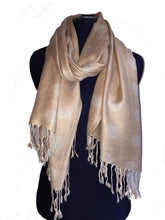 Load image into Gallery viewer, Dark beige with light beige spots Pashmina Style Scarf Lovely Summer wrap