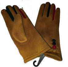Load image into Gallery viewer, G1925 Plain mustard ladies Gloves with a splash of colour between the fingers