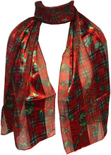 Load image into Gallery viewer, Pamper Yourself Now Red with red and Green Poinsettia Flower Design Scarf Thin Pretty Christmas Scarf