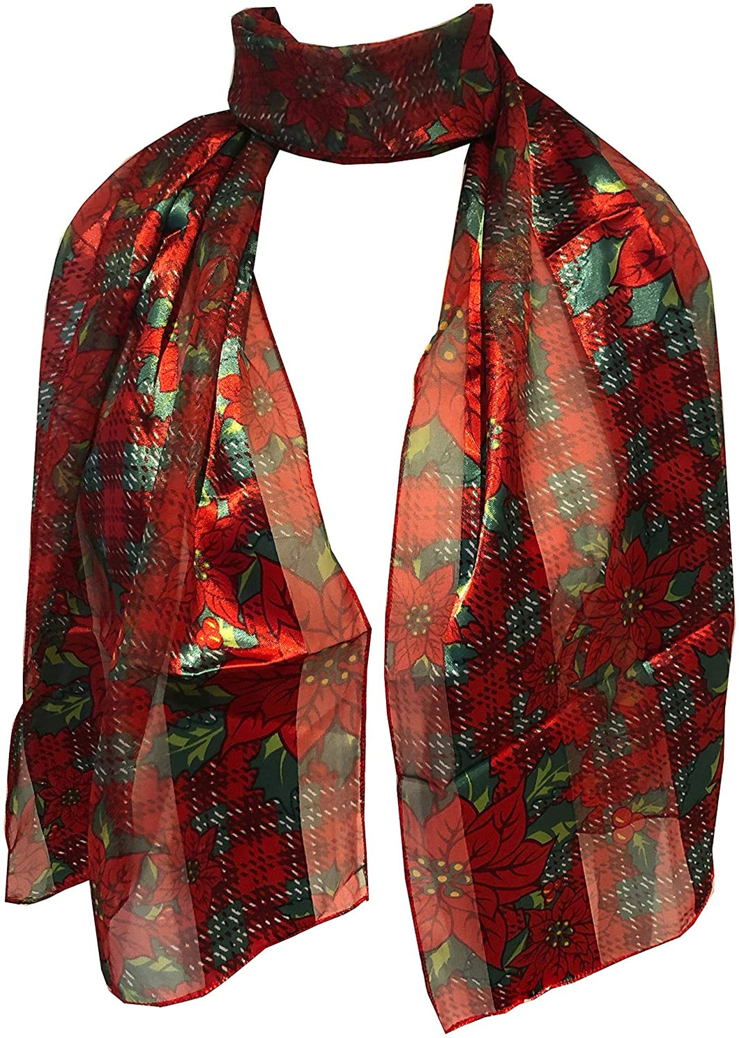 Pamper Yourself Now Red with red and Green Poinsettia Flower Design Scarf Thin Pretty Christmas Scarf