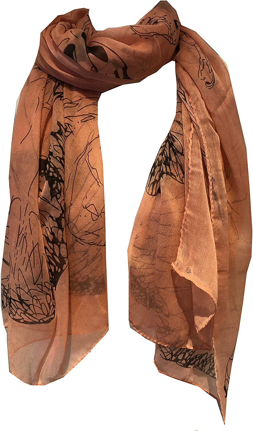 Peach with Brown Eagle and Skull Design Scarf/wrap.