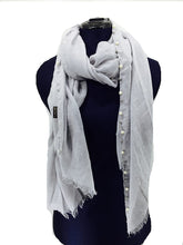 Load image into Gallery viewer, Pamper Yourself Now Grey with Beads and Pearls with Frayed Edge Long Soft Scarf/wrap