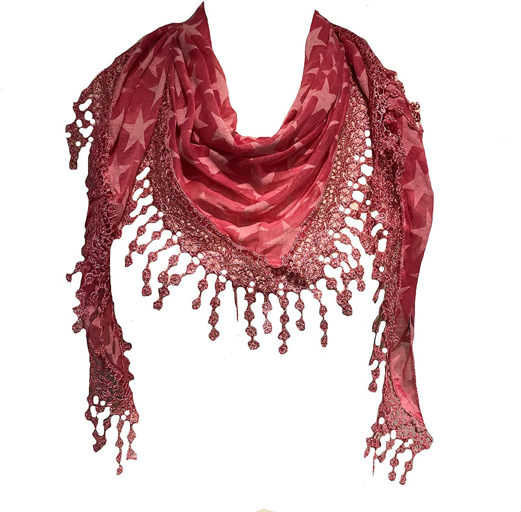 Pamper Yourself Now Pink with Beige Star lace Trimmed Triangle Scarf