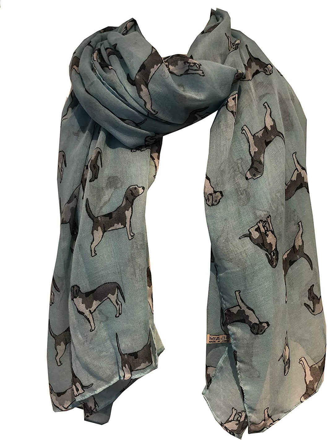 Pamper Yourself Now Light Green with Grey Beagles Dogs Scarf Fashion Long Soft wrap/Sarong. Great Present/Gift for Dog Lovers.