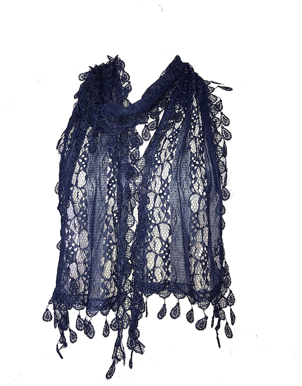 Pamper yourself Navy Leaf Lace Scarf