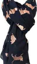 Load image into Gallery viewer, Black with gold foiled cats long soft scarf