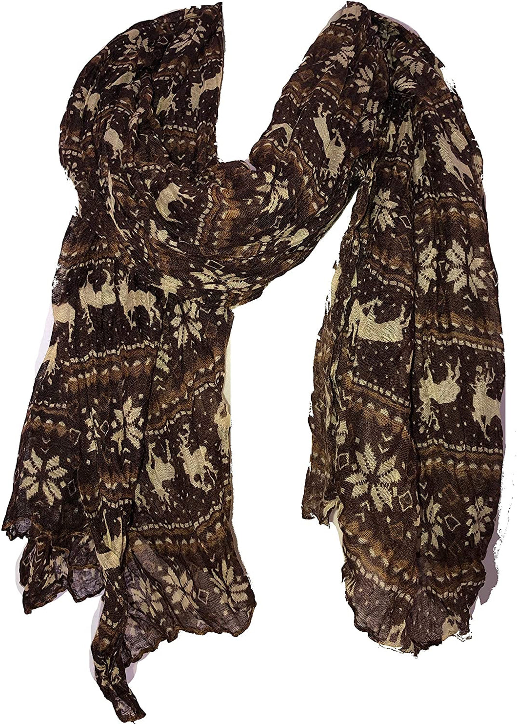 Pamper Yourself Now Brown Christmas Scarf with Deers and Snowflake Design Lovely Warm Winter Scarf Fantastic Gift