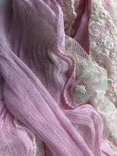 Load image into Gallery viewer, Pamper Yourself Now Light Pink Stretchy Thin Soft Long Scarf with lace trrim