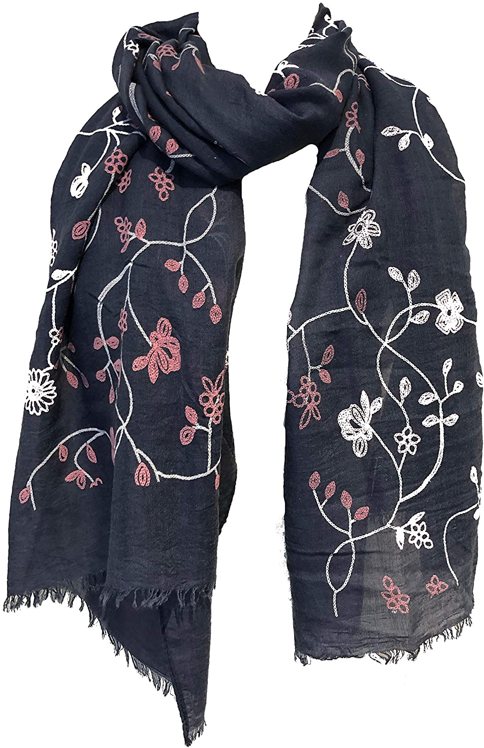 Blue with pink embroidered flowers and leaf design long Scarf/wrap with frayed edge