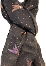 Load image into Gallery viewer, Pamper Yourself Now Dark Grey with Gold Fairy Design Long Scarf/wrap