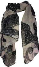 Load image into Gallery viewer, Pamper Yourself Now Beige with Black Paisley Pattern Long Scarf, Soft Ladies Fashion London