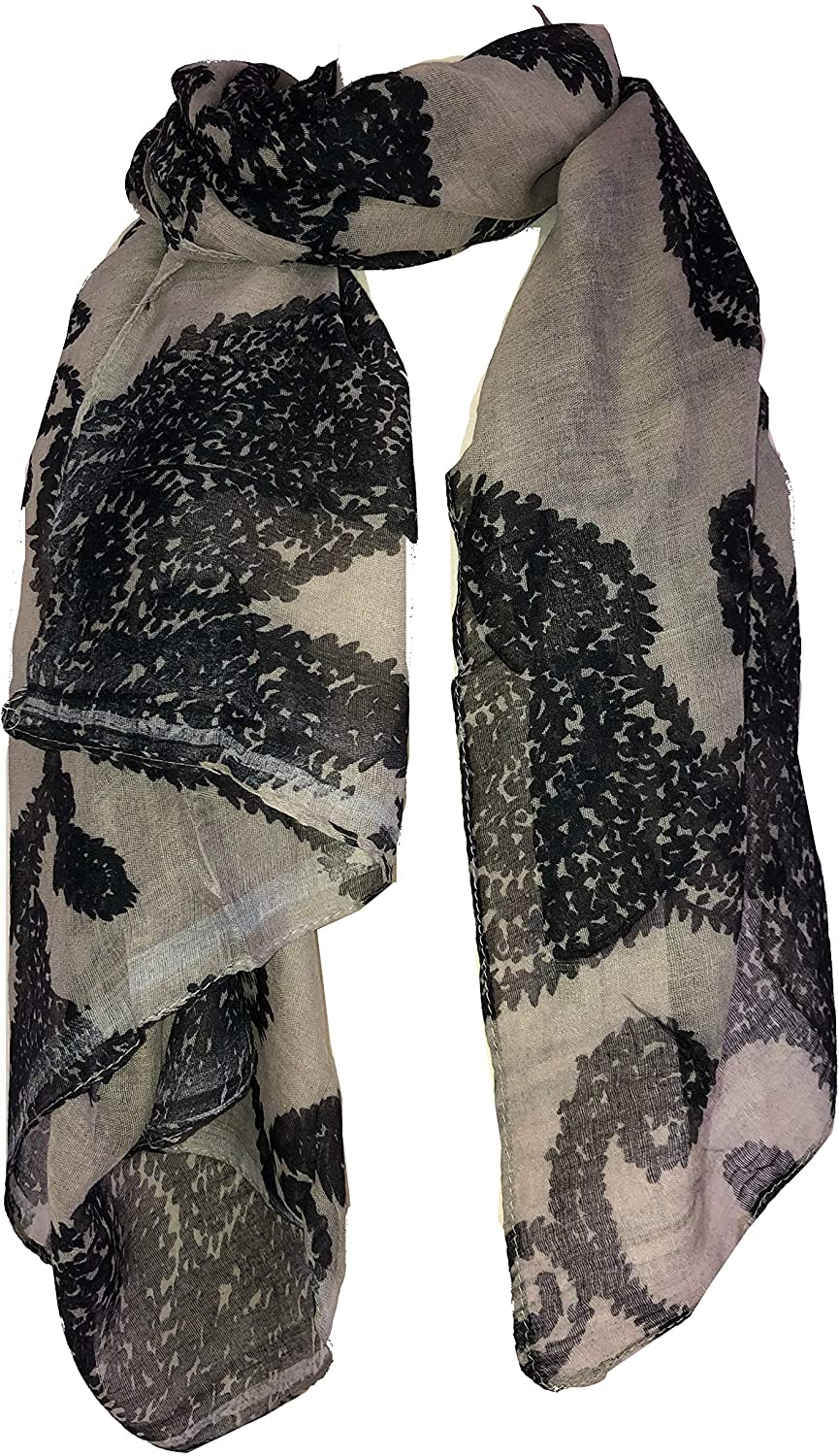 Pamper Yourself Now Beige with Black Paisley Pattern Long Scarf, Soft Ladies Fashion London
