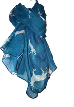 Load image into Gallery viewer, Pamper Yourself Now Light Blue with White Deers stag Print Scarves