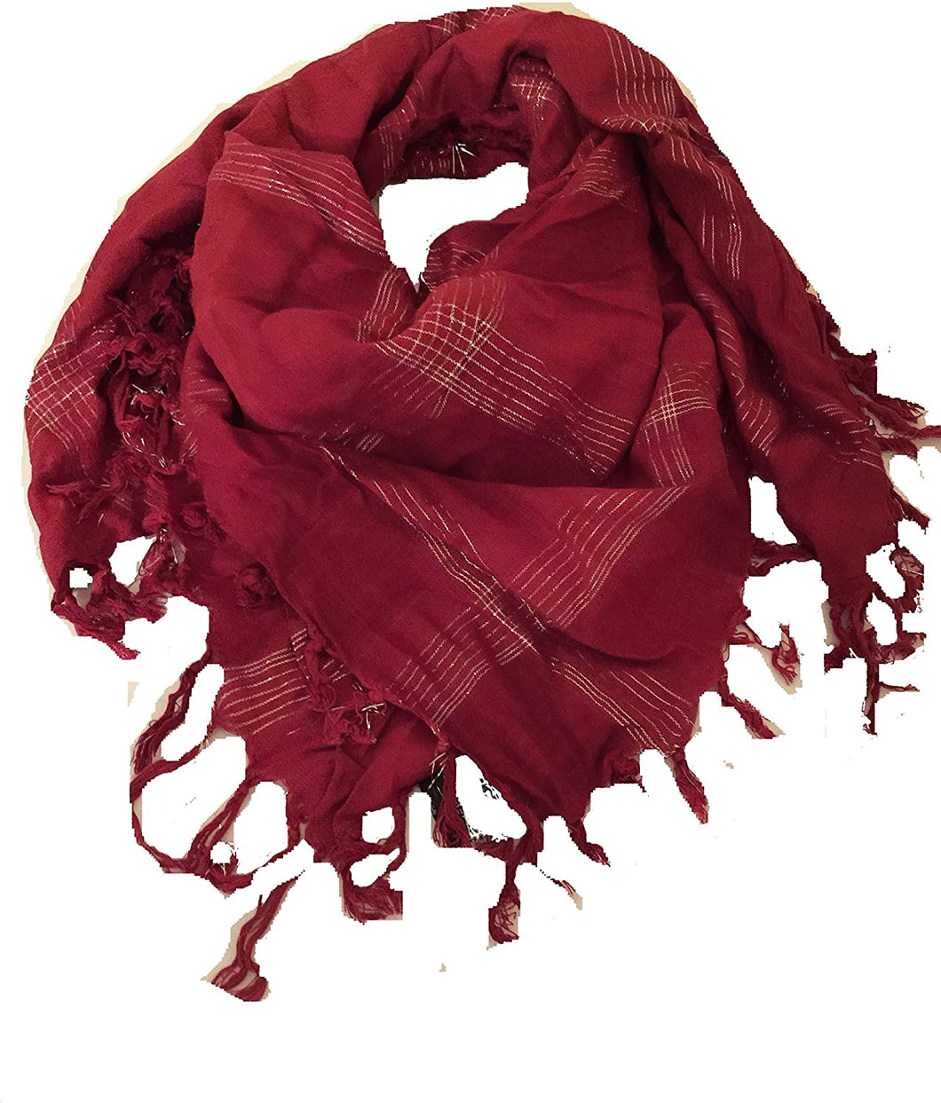 Red with silver checked design square scarf with tassels