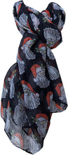 Load image into Gallery viewer, Pamper Yourself Now Black Santa Christmas Ladies Scarf