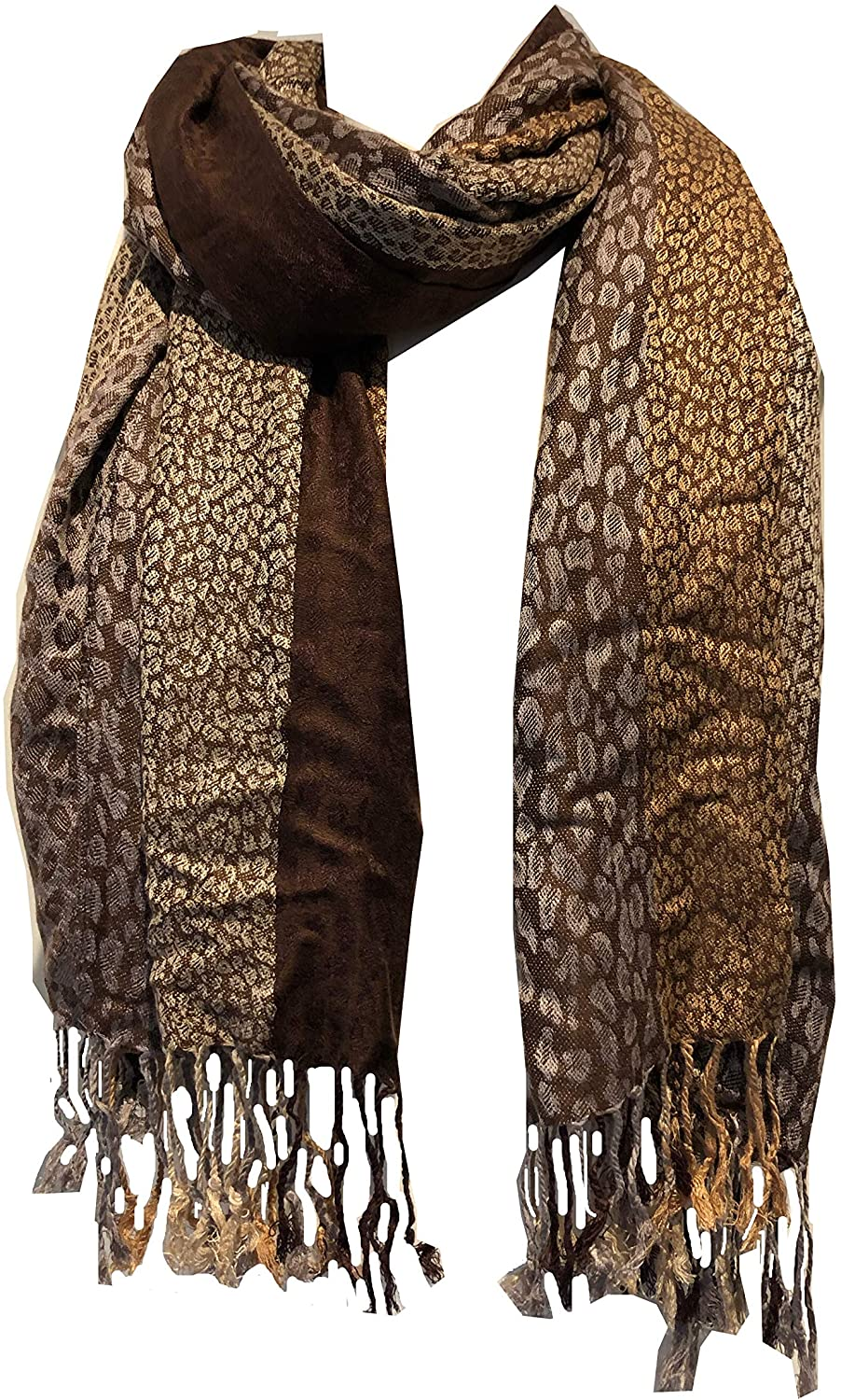 Dark Brown and Brown Animal Print Pashmina Style Scarf/wrap/Shawl. Fantastic Stylish Gift/Present
