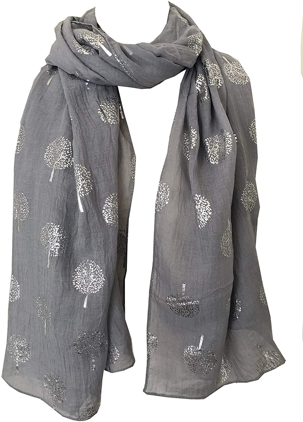 Pamper Yourself Now Light Grey with Silver Foiled Mulberry Tree Design Ladies Scarf/wrap. Great Present for Mum, Sister, Girlfriend or Wife.