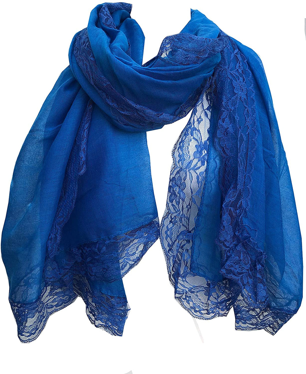 Pamper Yourself Now Royal Blue Plain Long Soft Scarf with lace Trim