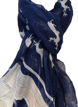 Load image into Gallery viewer, Pamper Yourself Now Blue with White Reindeer Design Scarf with Border. Lovely Long Soft Scarf Fantastic Gift