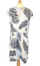 Load image into Gallery viewer, Pamper Yourself Now ltd Sky Blue Feather Print Dress with Two Side Pockets 100% Linen. One Size Recommended Fits Size 12-16 Made in Italy (AA67)