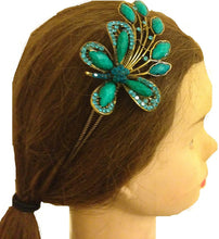 Load image into Gallery viewer, Teal big butterfly design aliceband, headband with pretty stone
