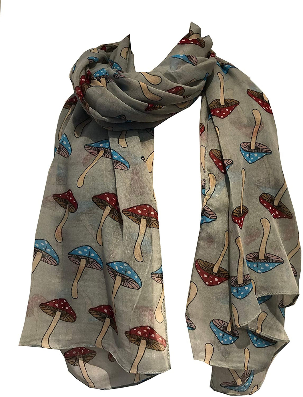 Pamper Yourself Now Green with Colourful Mushroom Design Scarf/wrap Great Present/Gift.