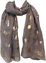 Load image into Gallery viewer, Light grey with gold foiled cats long soft scarf