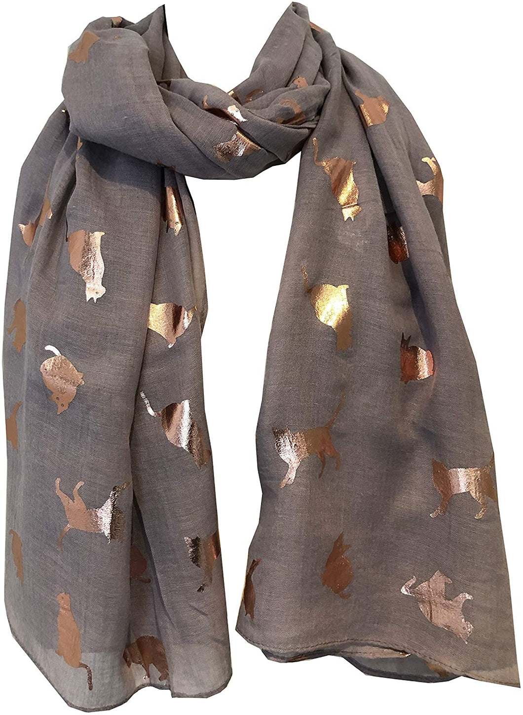 Light grey with gold foiled cats long soft scarf