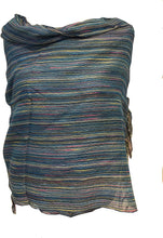 Load image into Gallery viewer, Pamper Yourself Now Blue Multi Coloured Striped Ladies Scarf/wrap