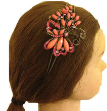 Load image into Gallery viewer, Pink/peach coloured butterfly design aliceband, headband with pretty stone