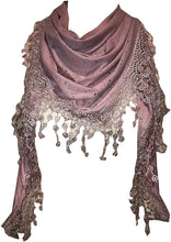 Load image into Gallery viewer, Pamper Yourself Now Pink Jersey with Sparkle and lace Trimmed Triangle Scarf Soft SummerPink Jersey with Sparkle Fashion London Fashion Fab Gift
