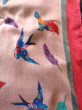 Load image into Gallery viewer, Pamper Yourself Now Pink with Pink Edge Swallow and Feather Scarf Multi Coloured Oversized Soft wrap with Frayed Edge