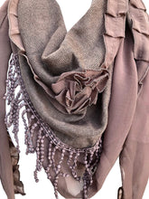 Load image into Gallery viewer, Pamper Yourself Now Brown with Small Rose and Chiffon lace Trim Triangle Scarf