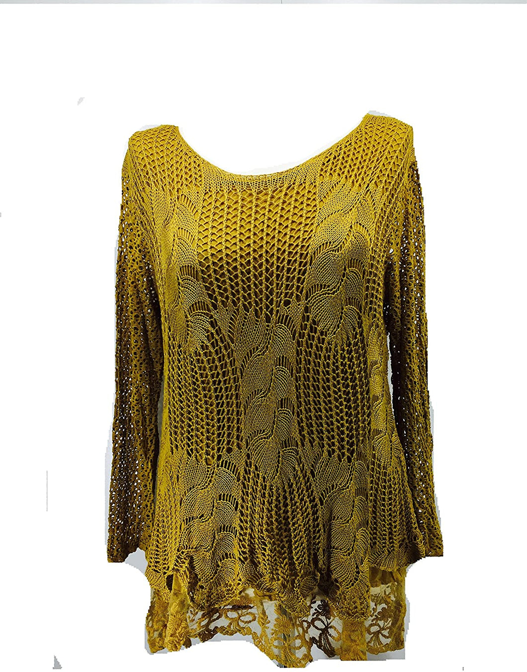 Pamper Yourself Now ltd Ladies Mustard Crochet lace Long Sleeve top. Made in Italy (AA27)