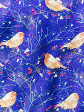 Load image into Gallery viewer, Pamper Yourself Now Blue Christmas Robin in Tree Long Soft Scarf/wrap