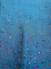 Load image into Gallery viewer, Pamper Yourself Now Plain Blue Scarf with Multi Coloured Sparkle Lovely Long Soft Scarf Fantastic Gift