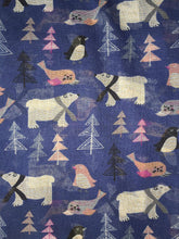 Load image into Gallery viewer, Pamper Yourself Now Blue North Pole Design with Polar Bears, Penguin and Seals Christmas Long Scarf