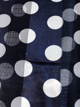 Load image into Gallery viewer, Navy with White Big spot Thin Pretty Scarf. Lovely with Any Outfit. 50's Style Scarf