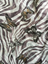 Load image into Gallery viewer, White with Brown Zebra Animal Print with Butterflies Chiffon Style Thin Scarf.