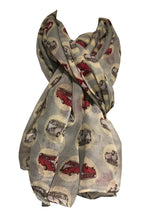 Load image into Gallery viewer, VW campervan design ladies long scarf, great for present/gifts. (light blue)