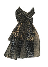 Load image into Gallery viewer, Leopard print long thin chiffon scarf, lovely thin neck scarves, great present.