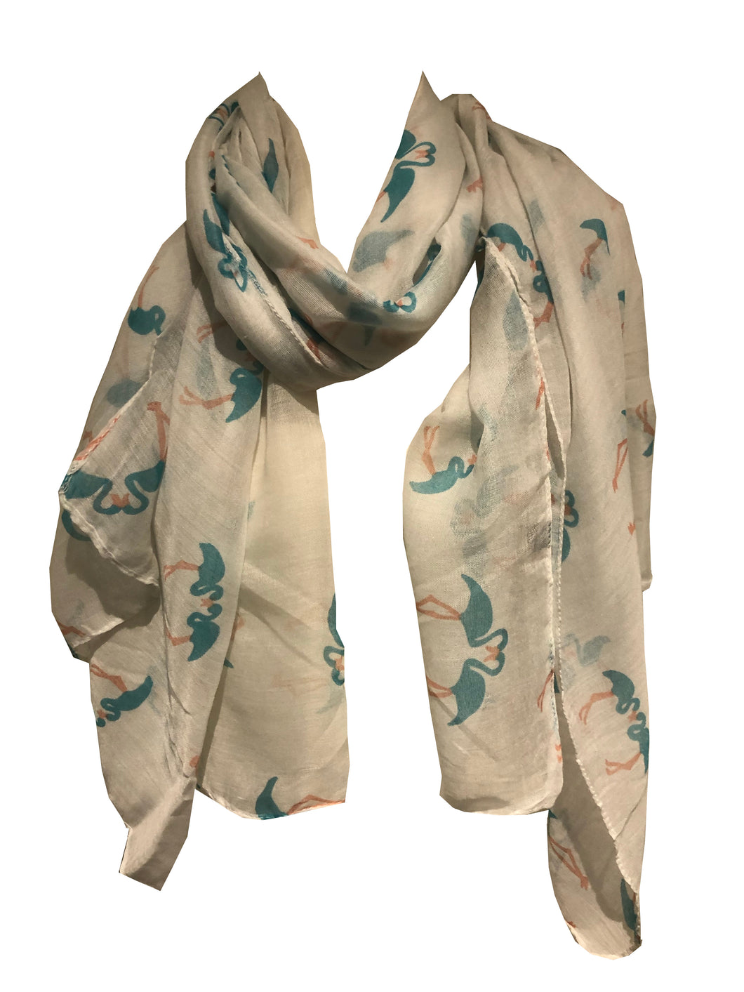 Pamper Yourself Now White Kissing Flamingo Long Soft Scarf