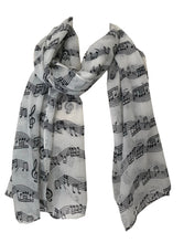 Load image into Gallery viewer, Pamper Yourself Now Big Scarf with White with Black Notes Print Scarf. Lovely Warm Winter Scarf Fantastic Gift