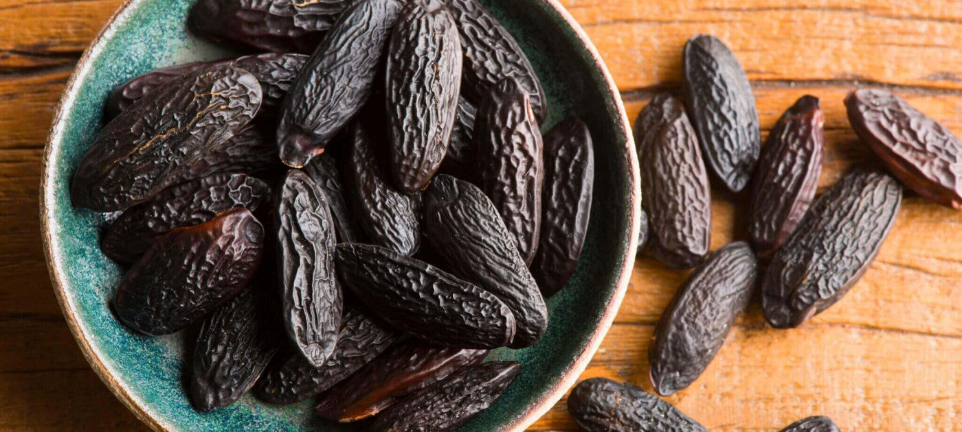 Tonka beans in a bowl