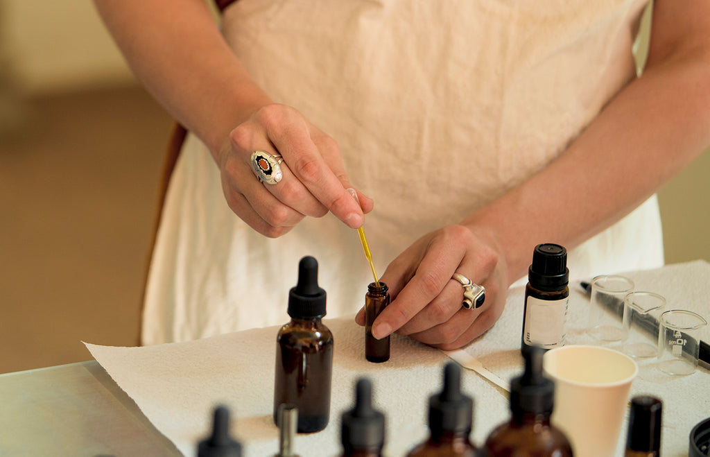 Testing essential oils for a new scent blend