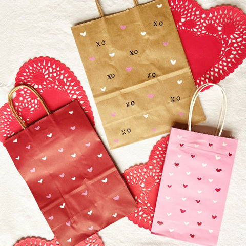 Hand painted upcycled Valentine's Day gift bags