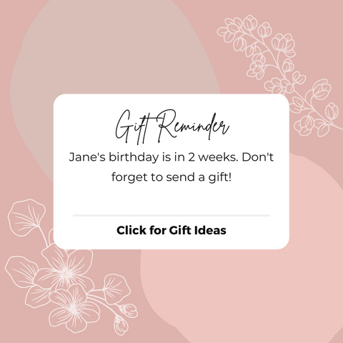 Gift reminder notification to buy a birthday gift